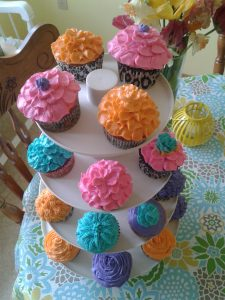 Bright Frosting Cupcakes