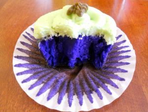 purple cupcake inside