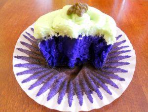 purple cupcake inside