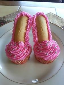Pink shoe cupcake